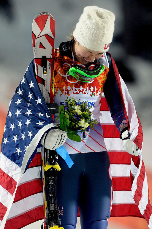 . Gold medalist American Mikaela Shiffrin reacts after winning the ladies\' slalom run 2. Sochi 2014 Winter Olympics on Friday, February 21, 2014 at Rosa Khutor Alpine Center. (Photo by AAron Ontiveroz/ The Denver Post)