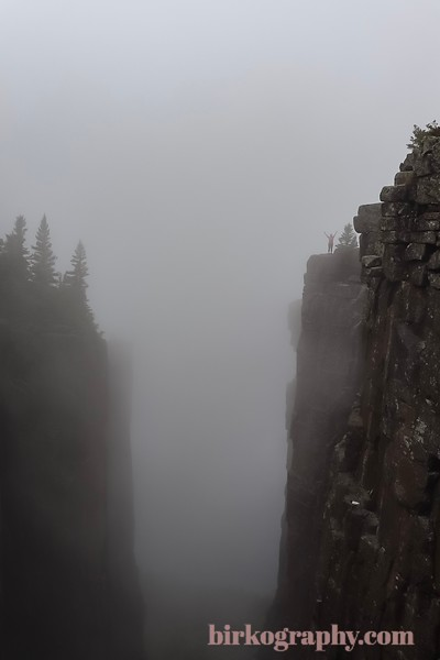 Locked in fog but living on the edge.  The top of Sleeping Giant Provincial Park, ON, Canada