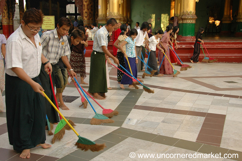 Buddhist Broom Brigade - Rangoon, Burma (Yangon, Myanmar)