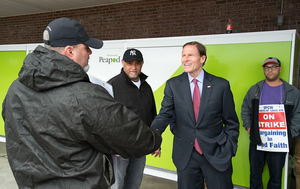 04/15/19 Wesley Bunnell | Staff Senator Richard Blumenthal visited area Stop & Shop Supermarkets on Monday afternoon speaking to striking workers on the importance of not just protecting their jobs but helping to uphold other jobs in the middle class. Meat Department Manager Glenn Rosa, L, shakes hands with Senator Blumenthal.
