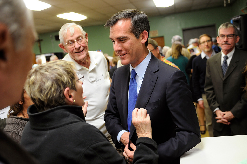 . Mayoral candidate Eric Garcetti greets people following the debate with Wendy Greuel at Notre Dame High School, Wednesday, April 17, 2013. (Michael Owen Baker/Staff Photographer)