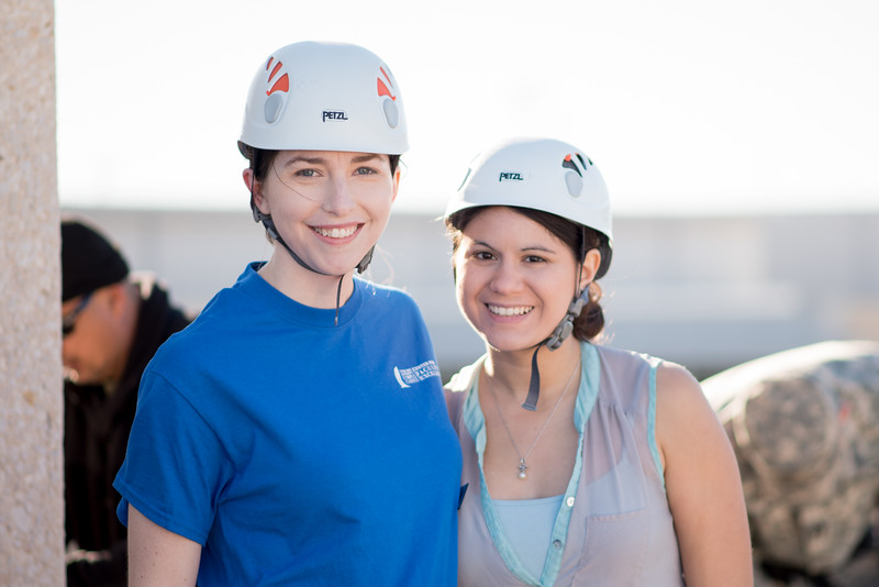Leah Barts(left) and Sarah Valdez participate in the TAMU-CC Batallion's rappelling and drill demonstration.