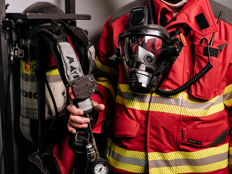 Detail of Rudy Fassin direct response crew (professional firefighters) gear in the hangar on the French side - Samuel Zeller for the New York Times