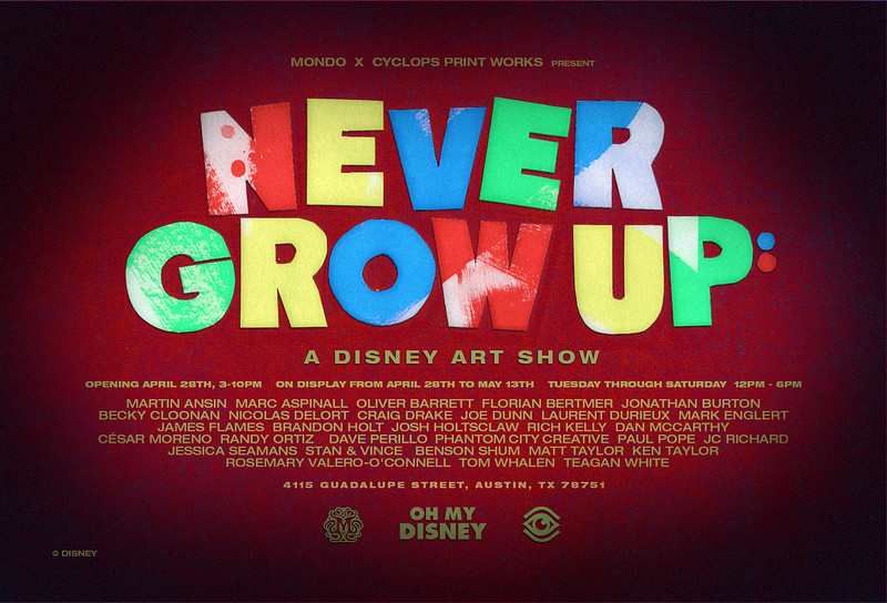 Stunning artwork from Mondo Gallery for 'Never Grow Up: A Disney Art Show'