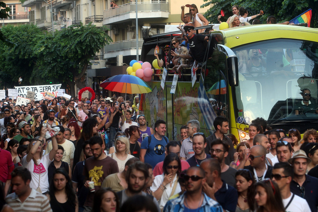 . Participants of the second gay pride march through the city of Thessaloniki on June 15, 2013. Thousands of people took part in a march organised by Greece\'s gay and lesbian community in the northern Greek city of Thessaloniki.AFP PHOTO /Sakis MITROLIDIS/AFP/Getty Images