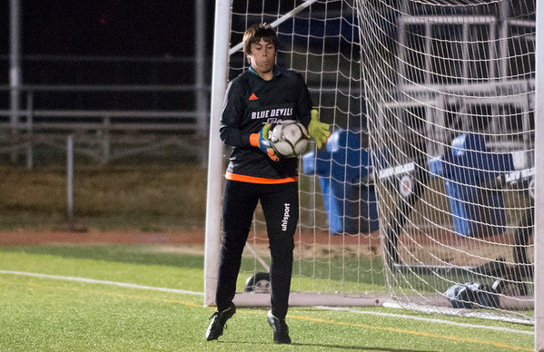 11/19/19 Wesley Bunnell | StaffrrPlainville boys soccer was defeated by Stonington in a Class M playoff game at Ken Strong Stadium in West Haven on Tuesday evening. Joey Raimondi (GK).
