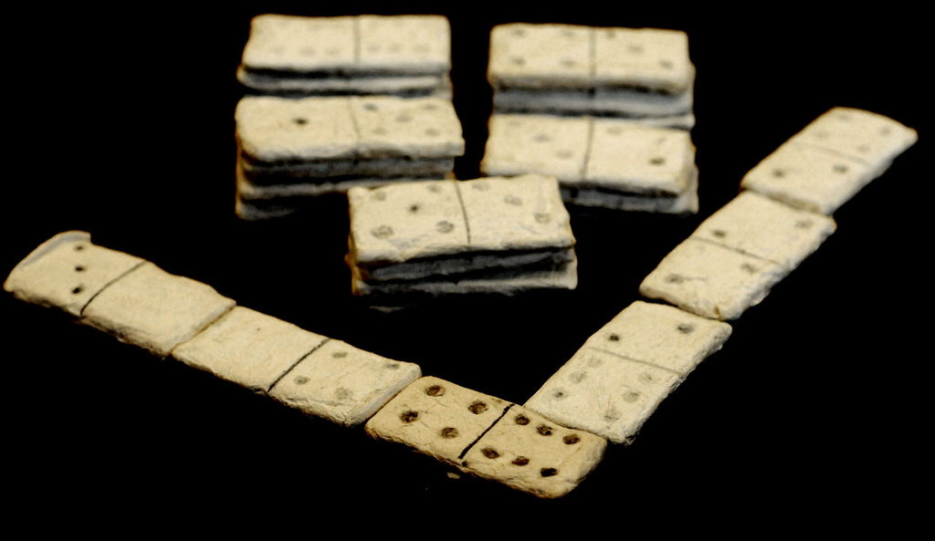 . A set of dominoes was made from paper and toothpaste. (Pioneer Press: Jean Pieri)
