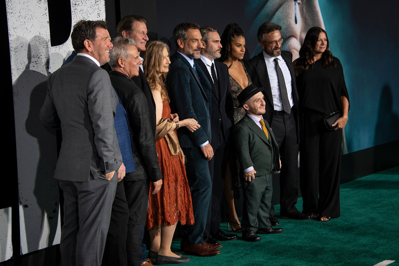 "HOLLYWOOD, CALIFORNIA - SEPTEMBER 28: Lawrence Sher, Glenn Fleshler, Josh Pais, Brett Cullen, Frances Conroy, Todd Phillips, Joaquin Phoenix, Zazie Beetz, Leigh Gill, Marc Maron and Emma Tillinger Koskoff attend the premiere of Warner Bros Pictures ""Joker"" on Saturday, September 28, 2019 in Hollywood, California. (Photo by Tom Sorensen/Moovieboy Pictures)"