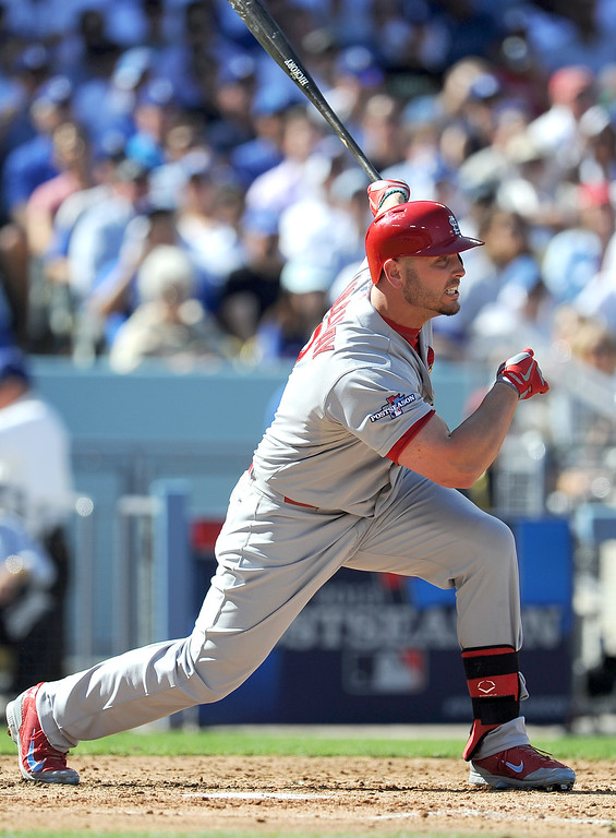 . The Cardinals\' Matt Holliday knocks in a run against the Dodgers during game 5 of the NLCS at Dodger Stadium Wednesday, October 16, 2013.(Hans Gutknecht/Los Angeles Daily News)