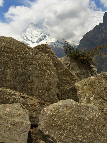 Tibetan Buddhist Mantras on Stones - Annapurna Circuit, Nepal