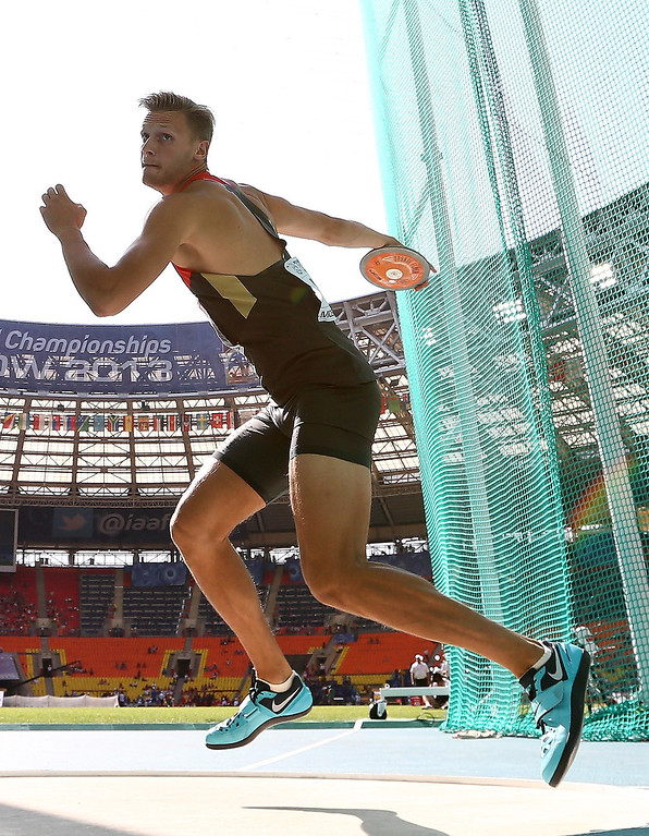 . Pascal Behrenbruch of Germany competes in the Men\'s Decathlon Discus during Day Two of the 14th IAAF World Athletics Championships Moscow 2013 at Luzhniki Stadium on August 11, 2013 in Moscow, Russia.  (Photo by Jamie Squire/Getty Images)