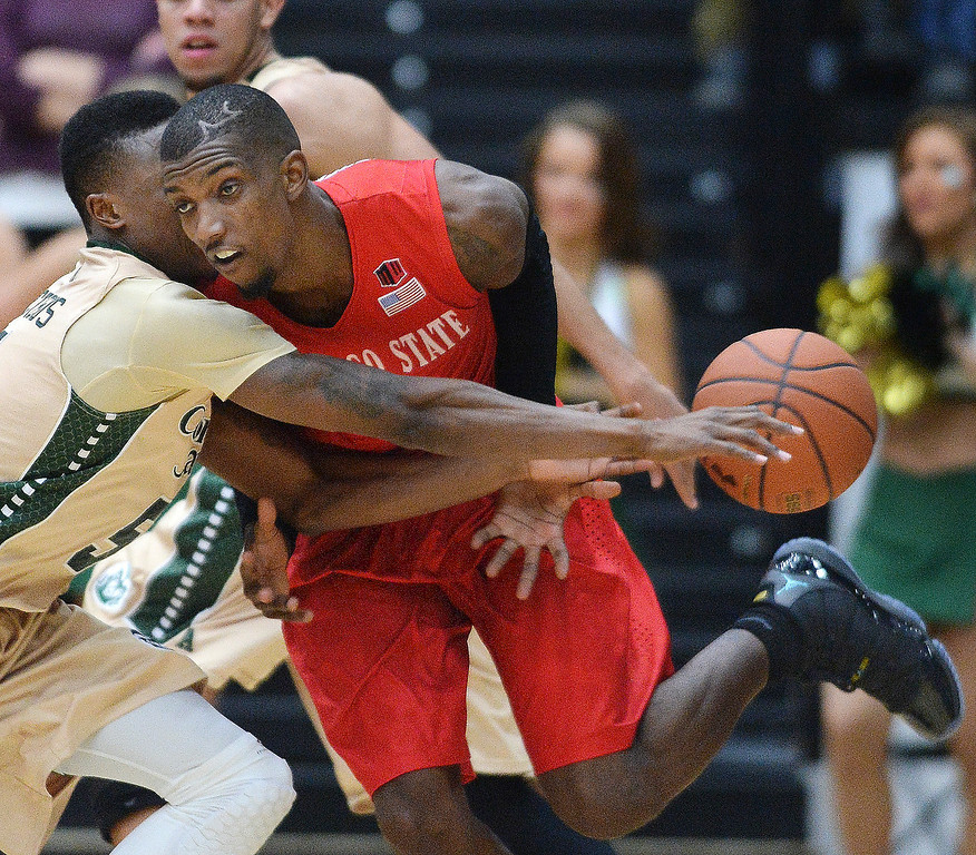. Rams\' guard Jon Octeus, left, knocked the ball away from Aztecs\' sophomore Winston Shepard, right, in the second half.  Photo By Karl Gehring/The Denver Post