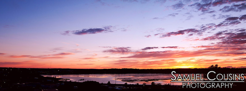 Sunset panorama, over Back Cove in Portland, Maine. Taken from Fort Sumner Park.