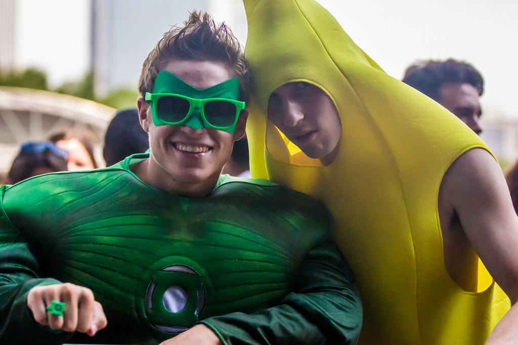 . Many attendees came in full costume, like these Green Lantern and Banana outfits at the Grove stage.