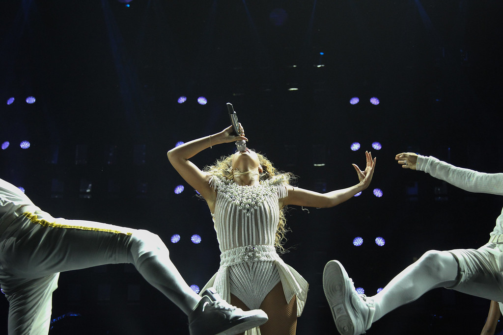 ". Singer Beyonce performs on her ""Mrs. Carter Show World Tour 2013\"", on Wednesday, July 17, 2013 at the United Center in Chicago, Illinois. (Photo by Robin Harper/Invision for Parkwood Entertainment/AP Images)"