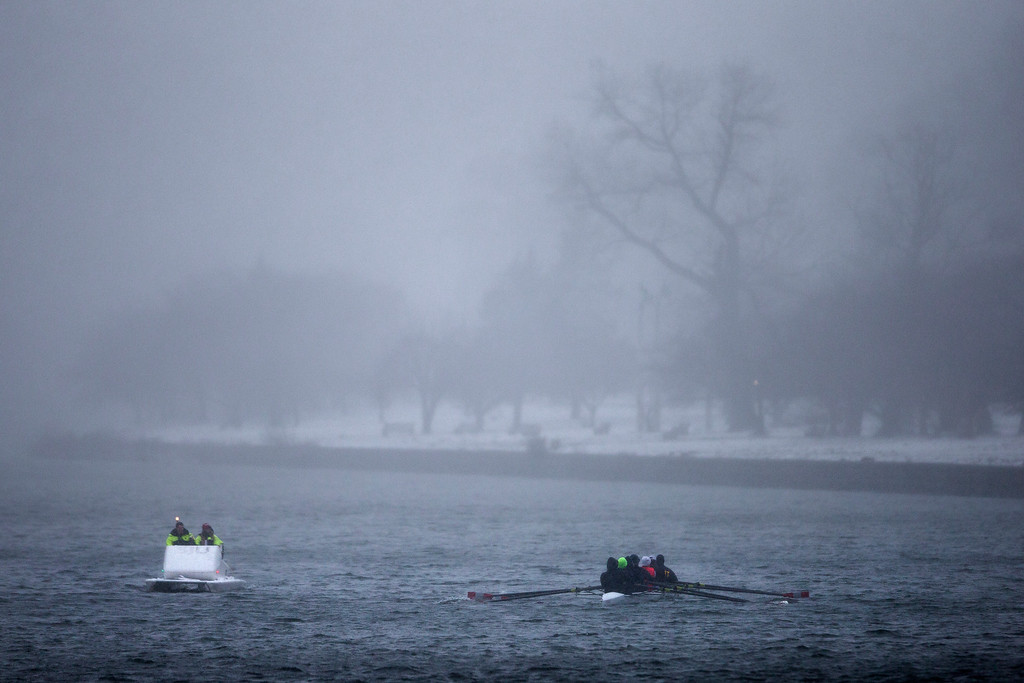 . Boats make their way down the Schuylkill River during a winter snow storm Friday, March 8, 2013, in Philadelphia. Many areas in the state reported 4 to 6 inches of snow. (AP Photo/Matt Rourke)