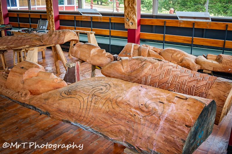 Carving in progress Carving school - Te Wananga Whakairo Te Puia Whakarewarewa Rororua New Zealand
