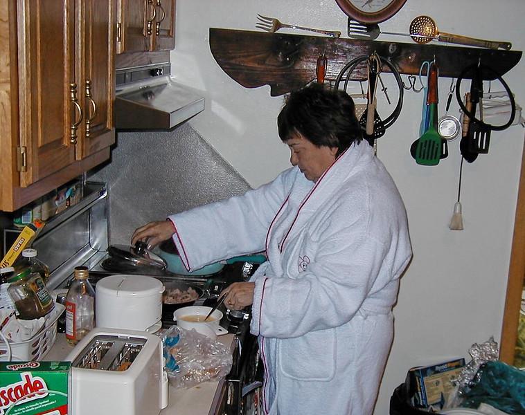 Shirley Lebin in her kitchen, April 1999.
