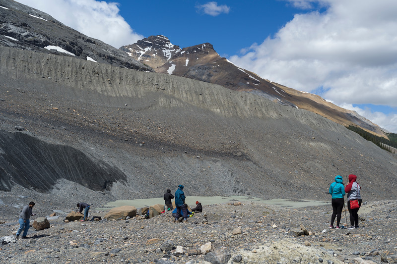 Tourists at Columbia Icefields, Icefields Parkway, Jasper, Alberta, Canada