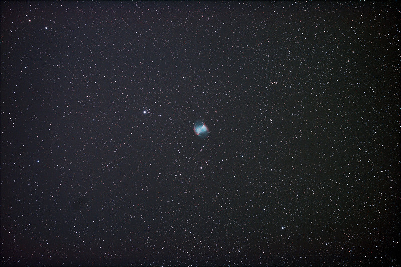 Messier M27 - NGC6853 Dumbbell Nebula - 28/5/2011 (Processed  single image)  DeepSkyStacker 3.3.2 Stacked 80% of 21 Images ISO 800 120 Sec, 32 DARK, 0 BIAS, 0 FLATS, Post-processed by Photoshop CS5  Telescope - Apogee OrthoStar LOMO 80/480 with Hotech SCA Field Flattener, Hutech IDAS LPS-P2 filter, Canon 400D DSLR, Ambient 11C. Mount - Skywatcher NEQ6 Pro. Guidescope - Orion ShortTube 80 with Star Shoot Auto Guider.