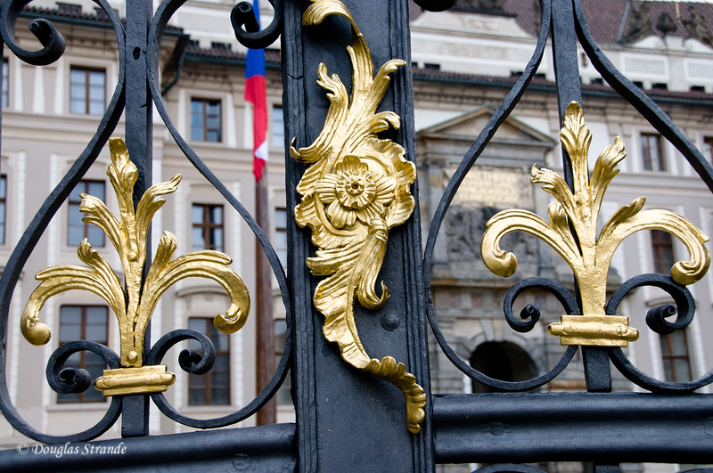 Gate with gold adornments at Prague Castle