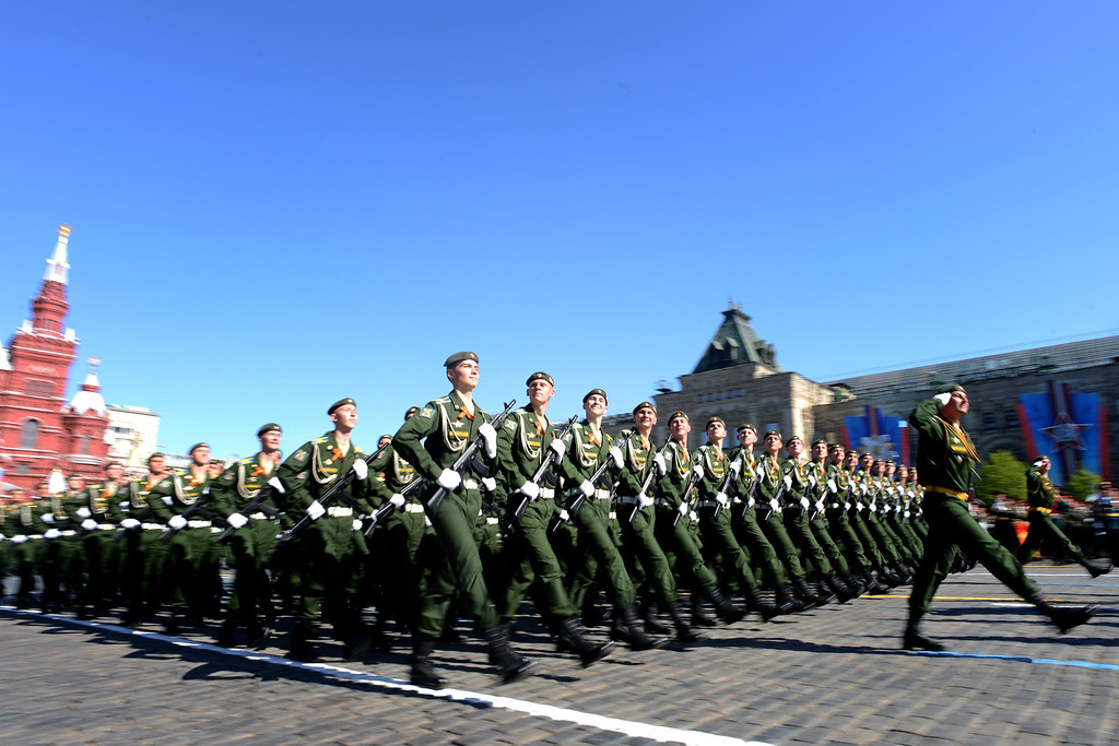 . Russian military academy cadets march at the Red Square in Moscow, on May  9, 2014, during a Victory Day parade. AFP PHOTO / KIRILL KUDRYAVTSEV/AFP/Getty Images