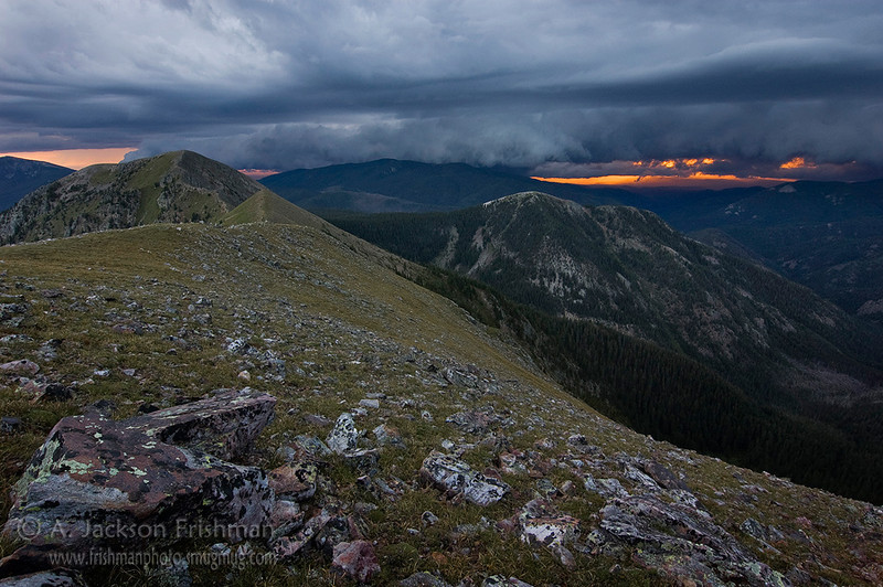 A monsoon sunset from East Pecos Baldy in New Mexico's Pecos Wilderness, August 2010.
