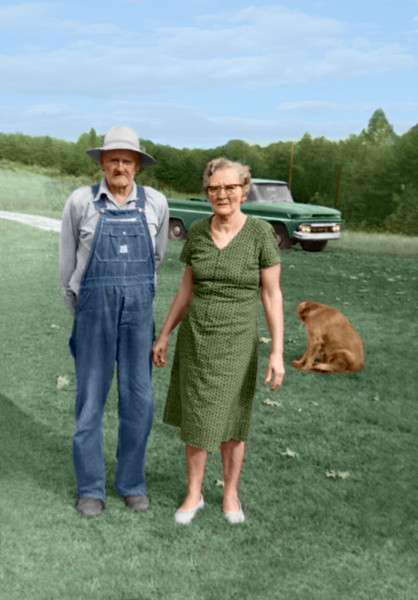 Foto DirectionsDIRECTIONS Please restore to original colors as noted. The dog is chestnut brown. The truck is aqua green. Man: light gray shirt and hat. Blue bib overalls (denim-like). Woman: Green dress with brown spotted design. Lt blue sky, green grass and trees all should appear normal as the scene would generally be. Skin tones should be about 5 on man and 7 on woman or use your best judgement.