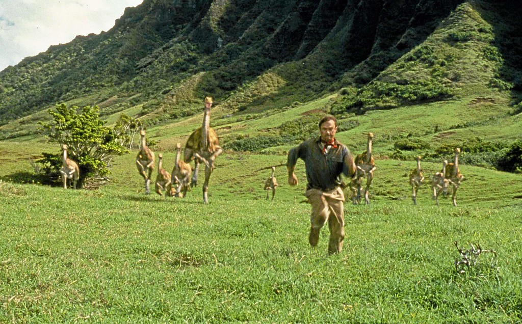 ". Sam Neill, portraying Dr. Alan Grant, runs from dinosaurs in a scene from ""Jurassic Park.\"" Cedar Lee Theatre in Cleveland Heights will be showing the film at in honor of its 25th anniversary at 2 p.m. and 7 p.m. Sept. 16. For more information, visit facebook.com/events/739681919759241. (AP Photo/Universal Pictures, File)"