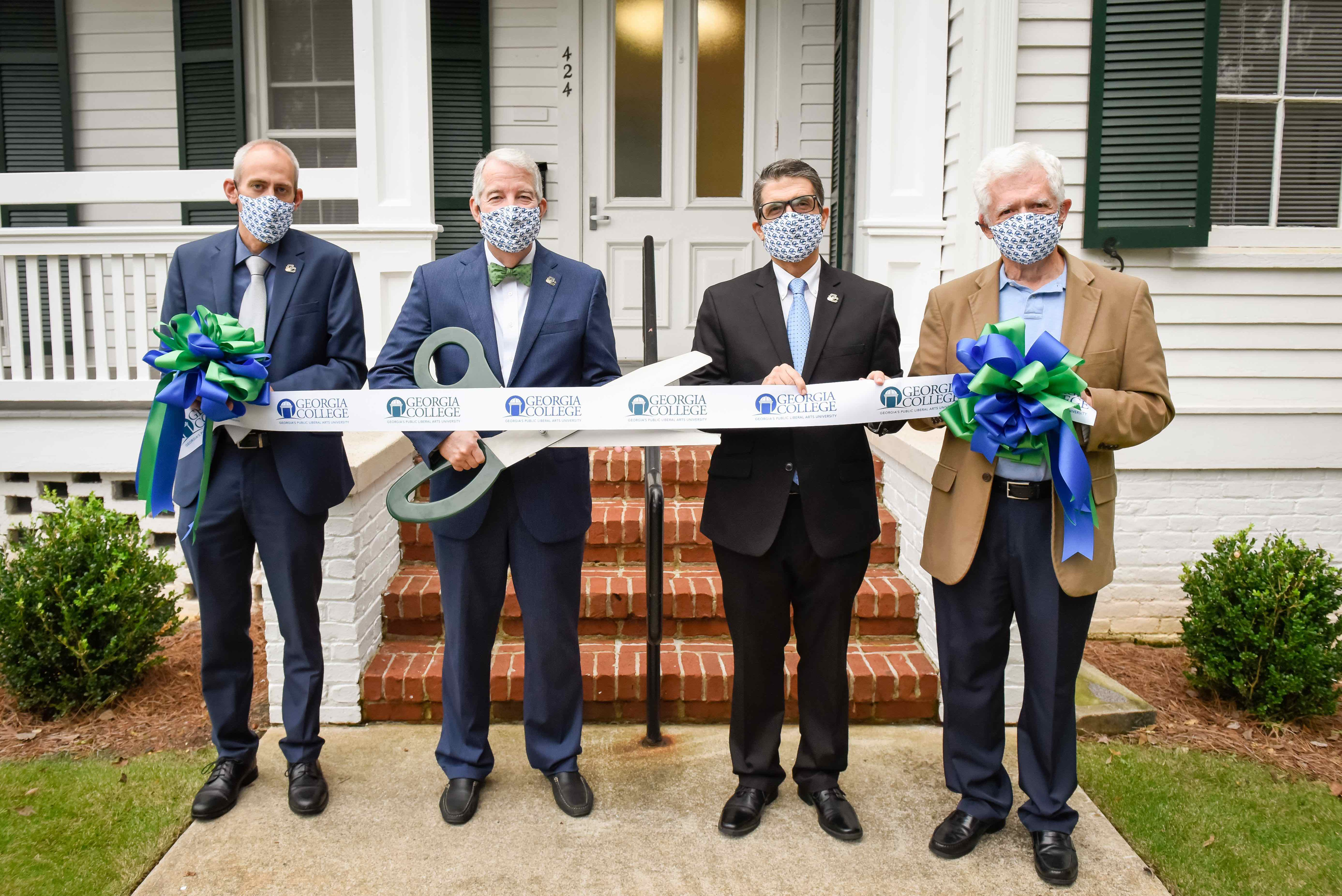 Ribbon cutting ceremony in October with Honors College Dean Brian Newsome, GC President Steve Dorman, Provost Costas Spirou and Professor Emeritus Ken Saladin.