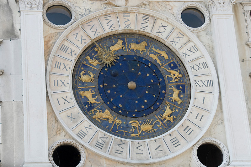 Close-up shot of the Zodiac Clock at St. Mark's Clock in Venice, Italy