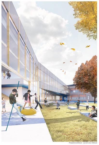 Perspective de la cour intérieure - DMA architectes - Lauréat Lab-École - Gatineau