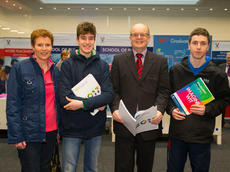 21/01/2017.  Waterford Institute of Technology (WIT) open day at WIT Arena. Pictured are Siobhan O'Sullivan, Jordan Griffith, Tom O'Toole of WIT and Brian O'Sullivan. Picture: Patrick Browne