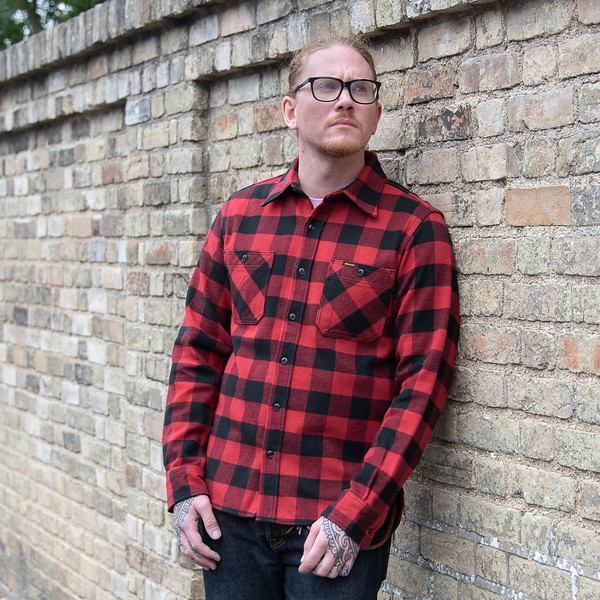 Ultra Heavy Flannel Buffalo Check Work Shirt - Red-Black-25636.jpg