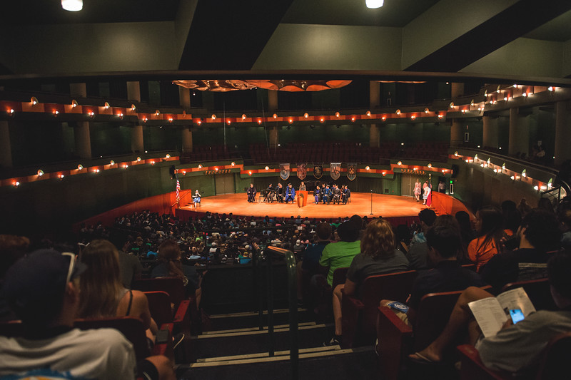 Students attend the First Year Island Convocation at the Performing Arts Center.