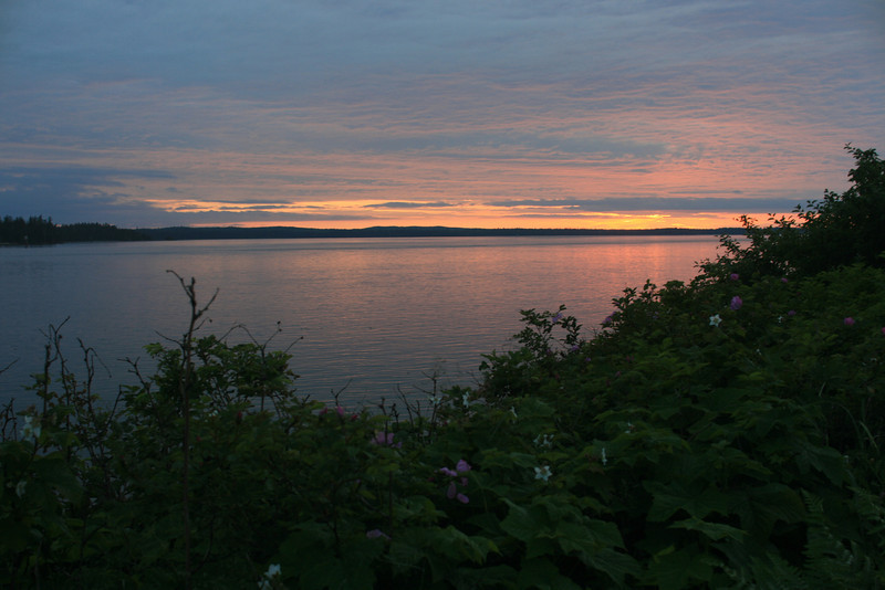 Sunset view from the the cabin. The is the inlet leading out to the ocean from Masset, Queen Charlotte Islands, BC.  We fished about 7 miles from the marina.