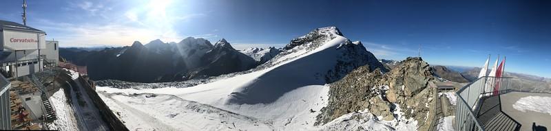 Top of lift view Piz Bernina, Piz Scerscen, Piz Roseg, Piz Sella Piz Murtel Piz Corvatsch