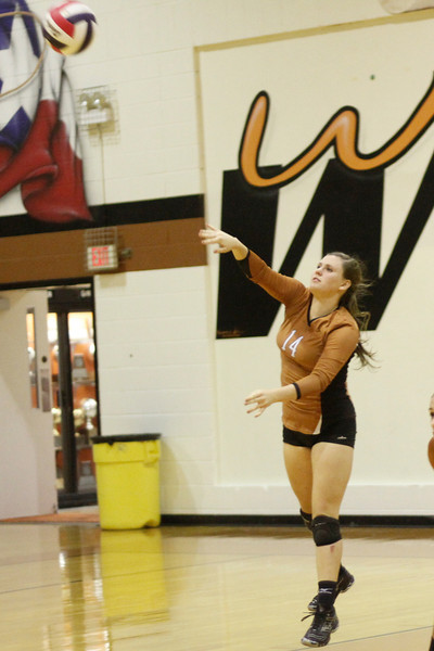Westwood's Nikki Welch serves against Pflugerville on Tuesday at Westwood High School.