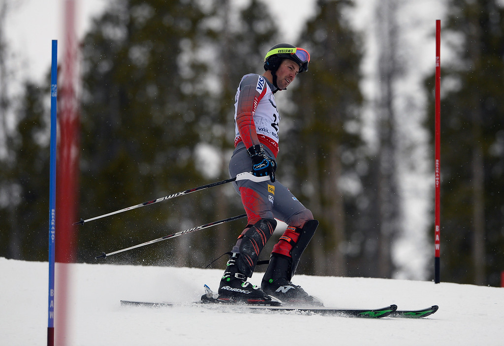 . BEAVER CREEK, CO - FEBRUARY 15: David Chodounsky of the United States skis off course after  coming out of a gate during his first run of the Men\'s slalom during the FIS  Alpine World Ski Championships in Beaver Creek, CO. February 15, 2015. (Photo By Helen H. Richardson/The Denver Post)