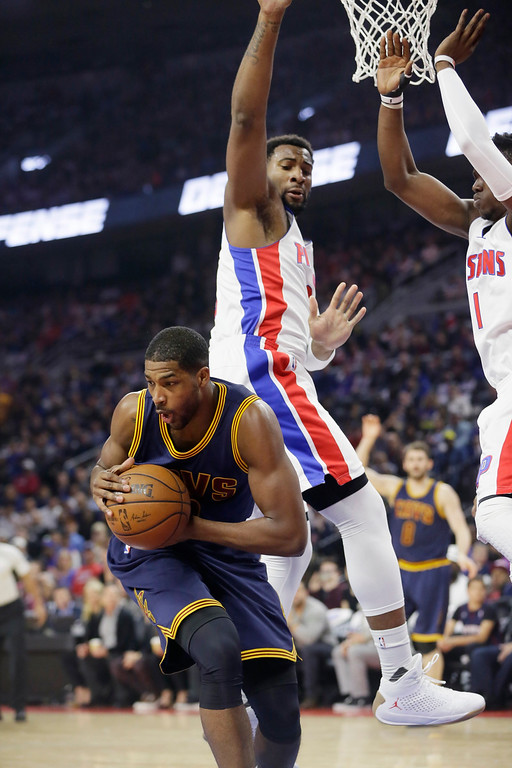 . Cleveland Cavaliers center Tristan Thompson pulls down a rebound during the first half in Game 4 of a first-round NBA basketball playoff series against the Detroit Pistons, Sunday, April 24, 2016 in Auburn Hills, Mich. (AP Photo/Carlos Osorio)