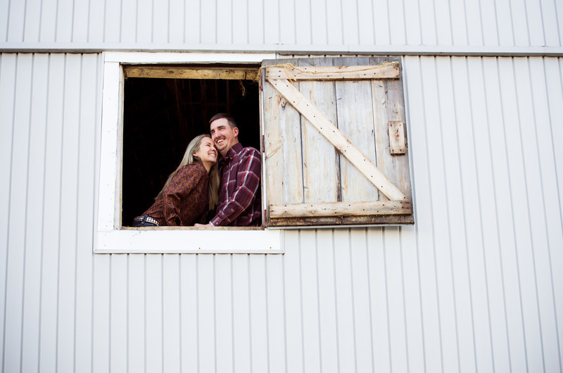 Couple in a barn during winter country engagement photos near Severson Dells in Rockford, IL
