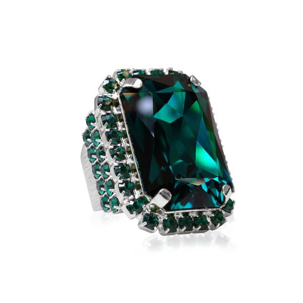 Alexa Cocktail Ring / Emerald Rhodium