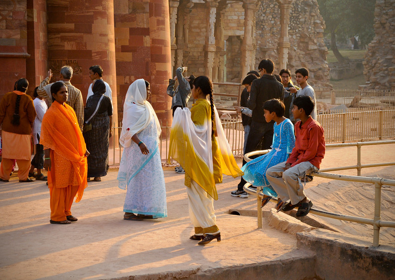 A family at Qutab Minar in Delhi.