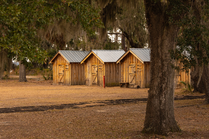 Officer Huts at Fort McAllister each with 4 bunks and a stove pipe oven.