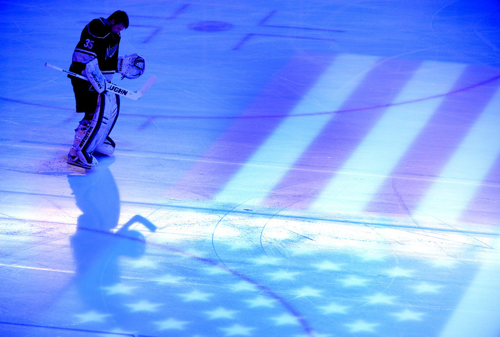 . Minnesota Wild goalie Darcy Kuemper during the National Anthem.  (Pioneer Press: Sherri LaRose-Chiglo)