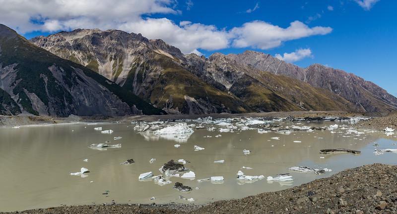 «Tasman Glacier»: Blick auf den Gletschersee