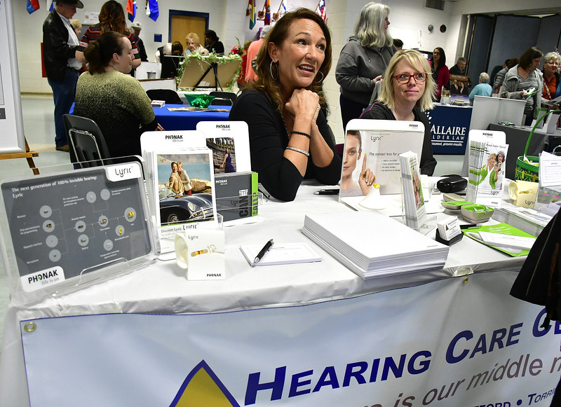 4/6/2019 Mike Orazzi | Staff Hearing Care Centers' Nancy Duffy and Nina Bell during the 5th Annual Connecticut Prime Time Senior Fair Saturday at Bristol Eastern High School.