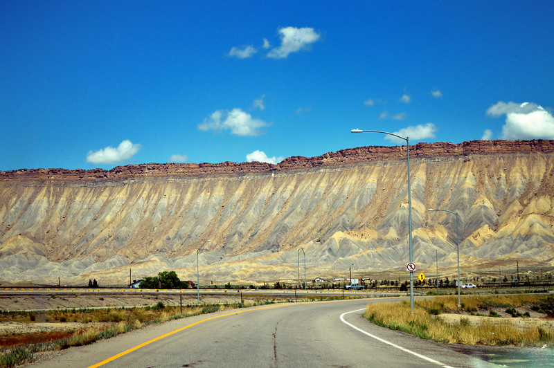 """The """"Book Cliffs"""" rising up over Grand Junction, Colorado"""