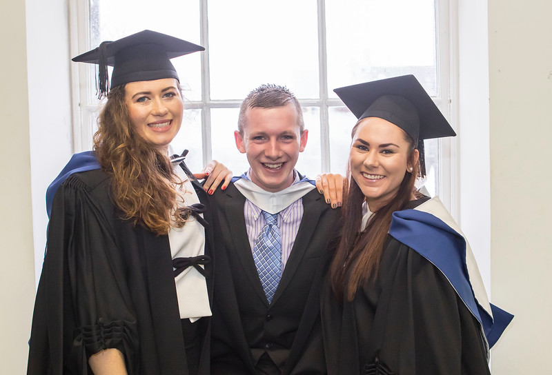 07/01/2015. FREE TO USE IMAGE. WIT (Waterford Institute of Technology) Conferring, Pictured are Bernadette Power, Waterford, Luke Power, Waterford and Michelle Kenny, Wicklow who graduated in Bachelor of Science in Food Science with Business. Picture: Patrick Browne