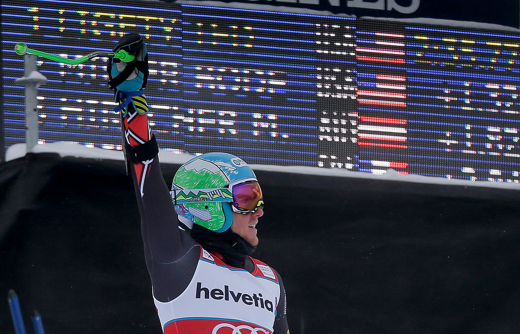 . Ted Ligety celebrates after his second run of the men\'s World Cup giant slalom skiing event, Sunday, Dec. 8, 2013, in Beaver Creek, Colo. Ligety took first in the event ahead of teammate Bode Miller and Austria\'s Marcel Hirscher. (AP Photo/Julie Jacobson)